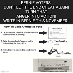 BERNIE VOTERS: DON'T LET THE DNC CHEAT AGAIN! TURN THAT ANGER INTO ACTION! WRITE-IN BERNIE THIS NOVEMBER!