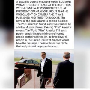 "Book OBUMMER himself was reading called ""Post-American World"" insinuating he is …"