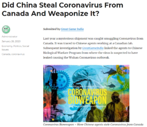 Chinese Agents Caught Exporting Coronavirus From Canada In 2019