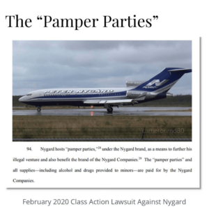 "Peter Nygard's ""Pamper Parties…including alcohol and drugs provided to minors—are paid for by the Nygard Companies."""