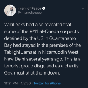 WikiLeaks Reveals 9/11 Al-Qaeda Suspects Detained By U.S. In Guantanamo Bay stayed In The Premises Of Tablighi Jamaat in Nizamuddin West, New Delhi several years ago