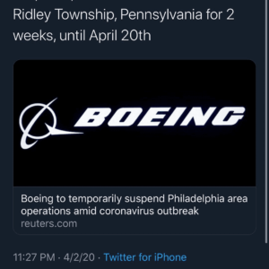 Boeing to temporarily suspend Philadelphia area operations amid coronavirus outbreak