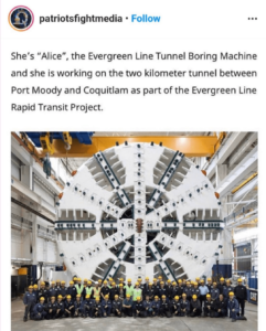 """The Evergreen Line Rapid Transit Project – She's """"Alice"""", the Evergreen Line Tunnel Boring Machine – Alice In Wonderland? – HRC Connection To Saudi Arabia"""
