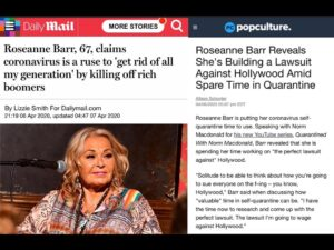 Roseanne Barr, 67, claims coronavirus is a strategy to 'get rid of all my generation' by killing off rich boomers – Roseanne Barr Reveals She's Building a Lawsuit Against Hollywood Amid Spare Time in Quarantine