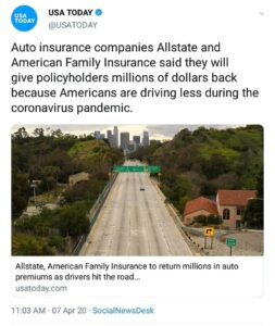 Auto insurance companies Allstate and American Family Insurance to give policyholders millions of dollars back due to Americans driving less during the coronavirus pandemic
