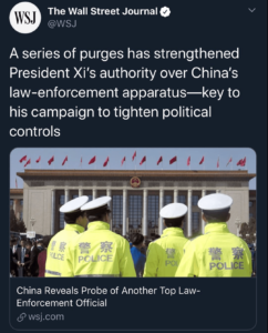 A series of purges has strengthened President Xi's authority over China's law-enforcement apparatus—key to his campaign to tighten political controls