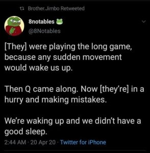 [They] were playing the long game, because any sudden movement would wake us up.