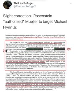 Rosenstein *authorized* Mueller to target Michael Flynn Jr.