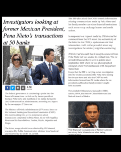 Investigators looking at former Mexican President, Pena Nieto 's transactions at 50 banks