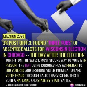 "Accountability under the law for all! . • US POST OFFICE FOUND ""IHREE TUBS"" OF ABSENTEE BALLOTS FOR WISCONSIN ELECTION I…"