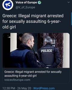 Greece: Illegal migrant arrested for sexually assaulting 6-year- old girl…