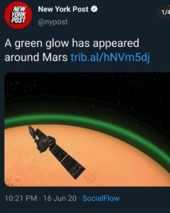 Read more about the article A green glow has appeared around Mars trib.al/hNVm5dj…