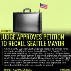 "The Durkan petitioners' recall effort accuses the mayor of ""endanger(ing) the pe…"