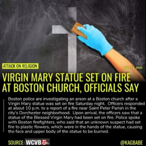 Boston police are investigating an arson at a Boston church after a Virgin Mary …