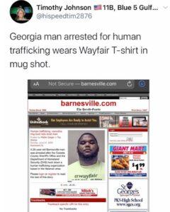 Georgia man arrested for human trafficking wears Wayfair T-shirt in mug shot.A…