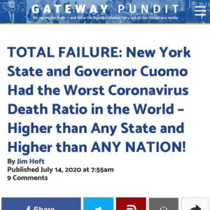 TOTAL FAILURE: New York State and Governor Cuomo Had the Worst Coronavirus Death…