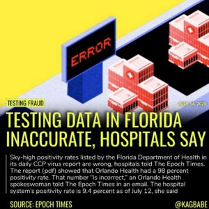 Sky-high positivity rates listed by the Florida Department of Health in its dail…