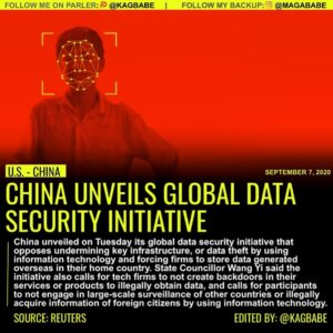 China has launched its own initiative to set global standards on data security, …