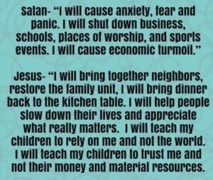 Satan's plans for COVID vs Jesus's.