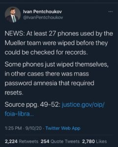 NEWS: At least 27 phones used by the Mueller team were wiped before they could b