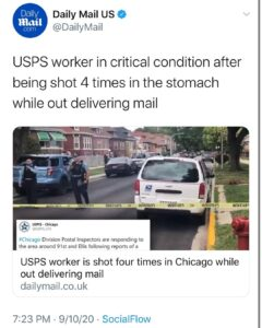 Damn, they're even shooting the mailmen in Chicago.