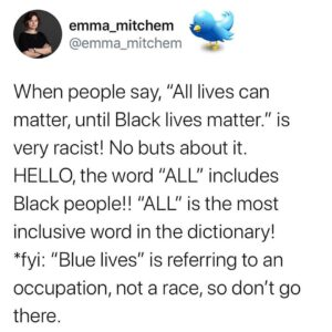 "— Who else has heard the ""All lives can matter after Black lives matter"" arg"