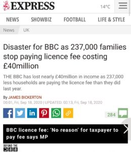THE BBC has lost nearly £40million in income as 237,000 less households are payi