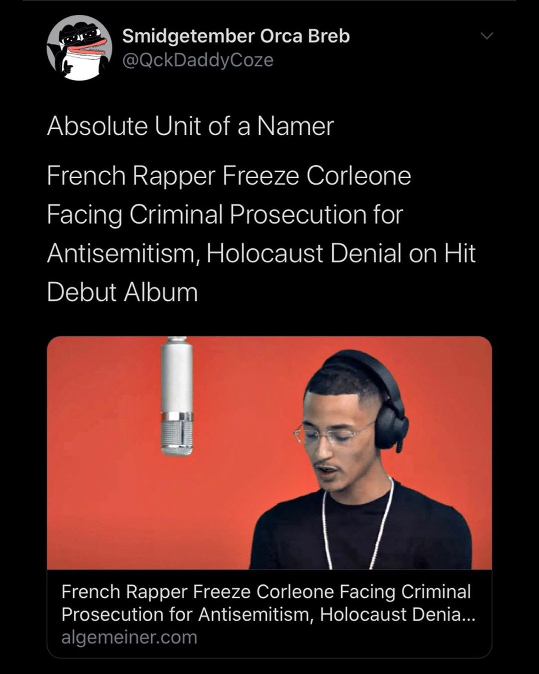 """You are currently viewing Absolute Legend  My nibba said """"FUCK THE SHOAH"""" LETS GOOOOOOO!"""