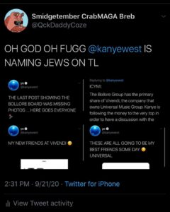OH GOD OH FUGG KANYE NAMING JEWS ON TL *sip  you love to see it.
