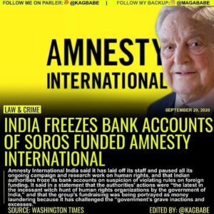 NEW DELHI – So called 'Human rights watchdog' Amnesty International said Tuesday