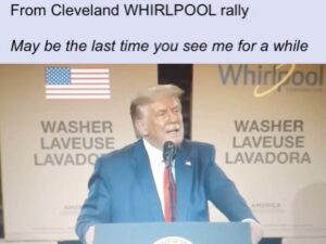 Whirlpools are in drains. He was beefin with big Pharma during this rally, and h
