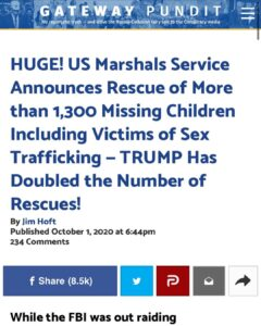 The number of missing children being rescued has doubled under POTUS. This is am
