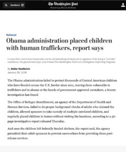 Read more about the article Obama administration placed children with human traffickers, report says