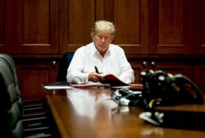 Read more about the article President  working away — in his conference room at Walter Reed Medical Center.