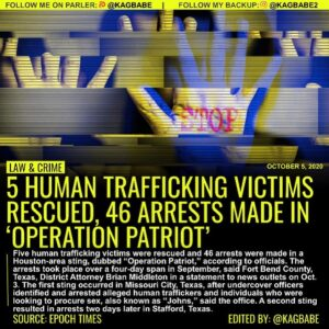 Five human trafficking victims were rescued and 46 arrests were made in a Housto