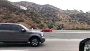 Someone put up a Trump sign overnight along the 405 freeway, near the Getty Cent