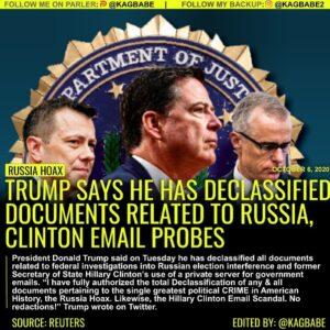 WASHINGTON (Reuters) – President Donald Trump said on Tuesday he has declassifie