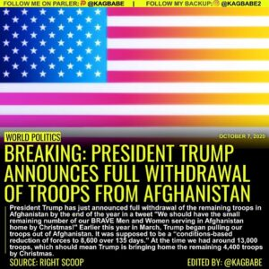 President Trump has just announced full withdrawal of the remaining troops in Af