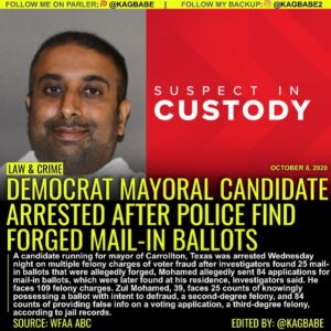 Mohamed allegedly sent 84 applications for mail-in ballots, which were later fou