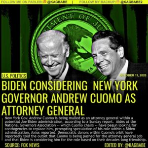 YIKES! New York Gov. Andrew Cuomo is being mulled as an attorney general within