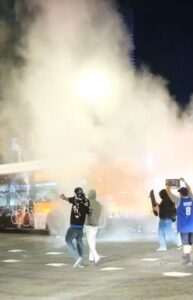 A Metro bus was vandalized & lit on fire tonight in DTLA after the Lakers won.