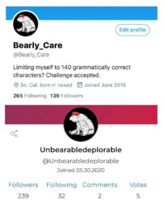 For those that have been asking. Here is my twitter and Parler accounts. I'm not