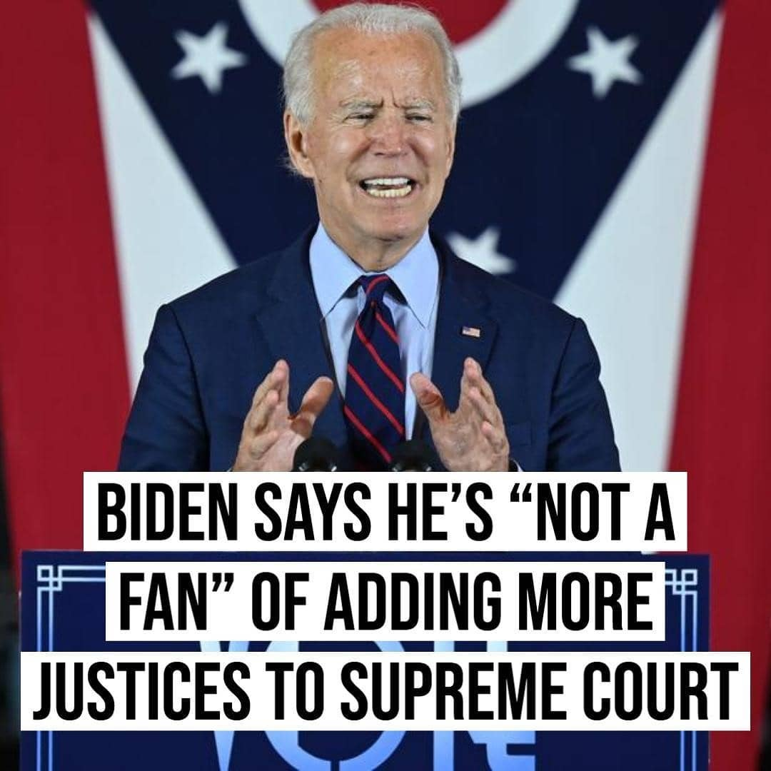 "Joe Biden said he is ""not a fan"" of adding additional seats to the Supreme Court"