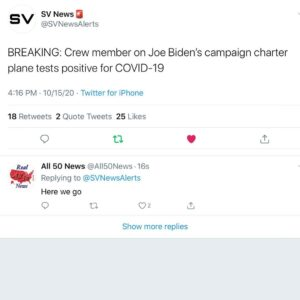 Crew member on Joe Biden's campaign charter plane tests positive for COVID-19