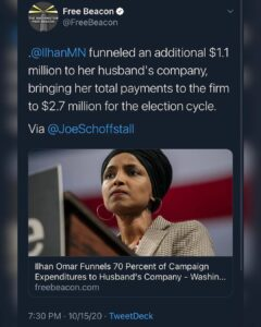 Ilhan Omar funneled an additional $1.1 million to her husband's company, bringing her total payments to the firm to $2.7 million for the election cycle