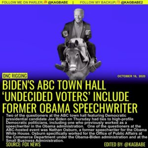 BIDEN'S ABC TOWN HALL 'UNDECIDED VOTERS' INCLUDE FORMER OBAMA SPEECHWRITER