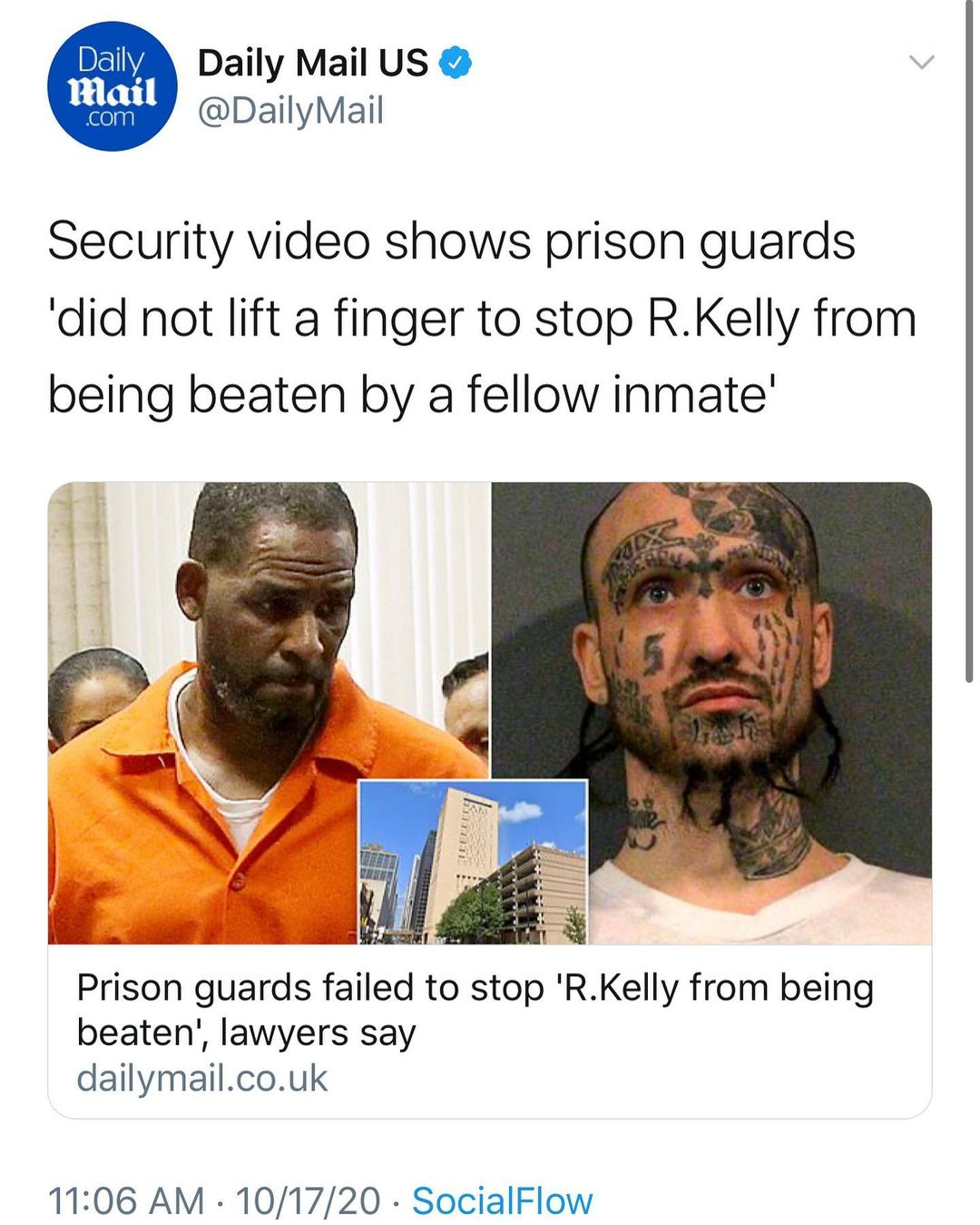 Security Footage Shows Prison Guard's 'did not lift a finger to stop R.Kelly from being beaten by a fellow inmate'