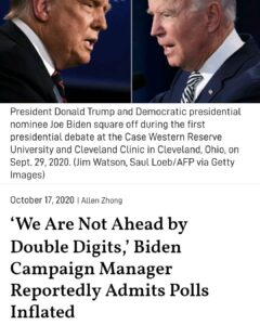 The Democratic presidential nominee Joe Biden's campaign manager reportedly admi