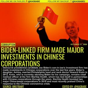 BIDEN-LINKED FIRM MADE MAJOR INVESTMENTS IN CHINESE CORPORATIONS