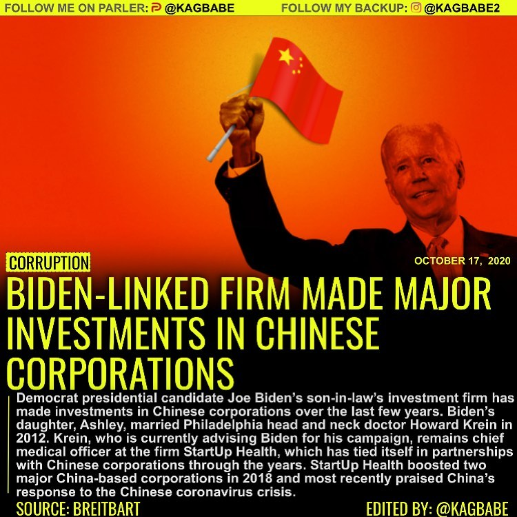 BIDEN-LINKED FIRM INVESTMENTS IN CHINESE ÇORPORATIONS MADE MAJOR